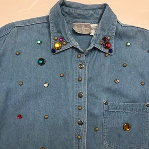 Vintage Chambray Rhinestone Embellished Shirt